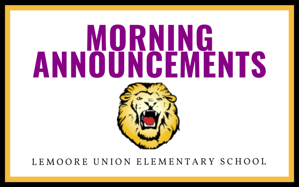 Morning Announcements - 9/29/20
