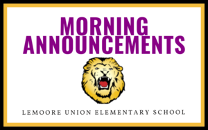 Morning Announcements - 8/26/20