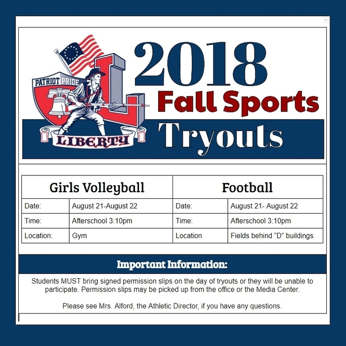 volleyball and football tryouts