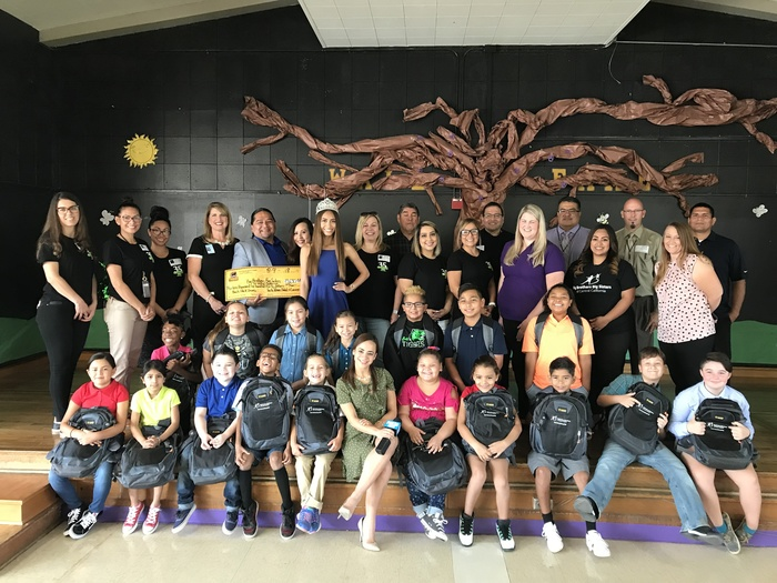 Lemoore Elementary Big Brothers Big Sisters and Tachi Palace backpack donation