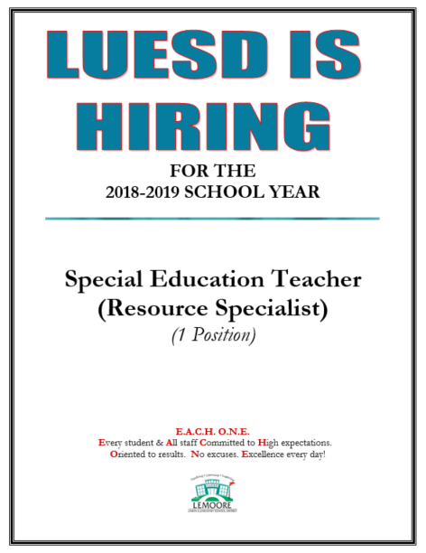 Special Education Teacher Job Posting