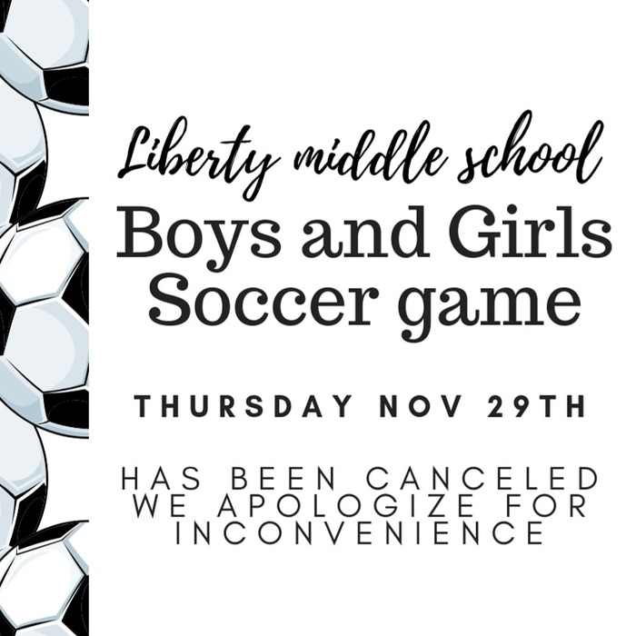 11/29 soccer game canceled