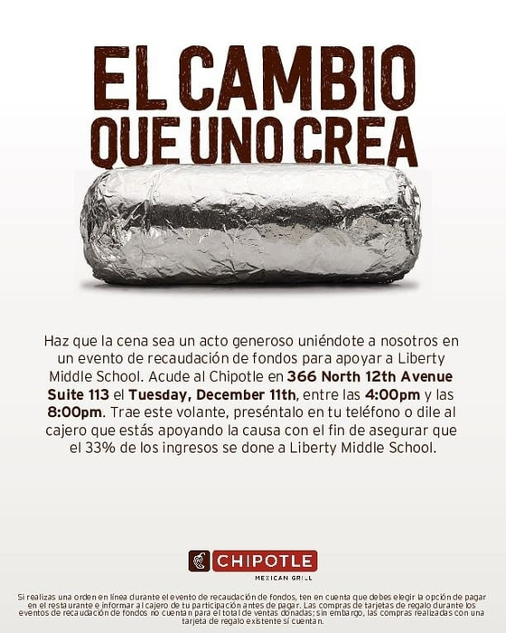 Chipotle fundraiser 12/11 spanish