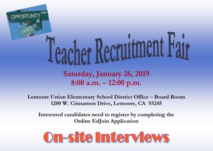 LUESD Teacher Recruitment Fair Flyer
