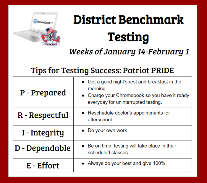 District Benchmarks January 14. Bring earphones and Chromebooks.
