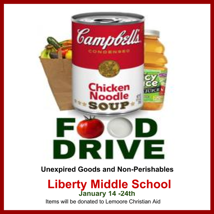 Canned Food Drive January 14 to January 24