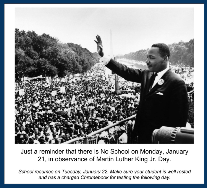 No School Jan 21 for MLK Day