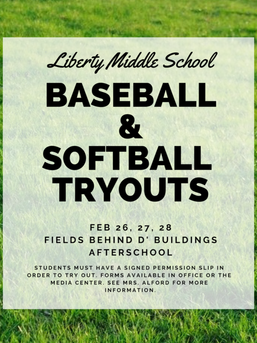 Baseball/Softball Tryouts 2/26-2/28