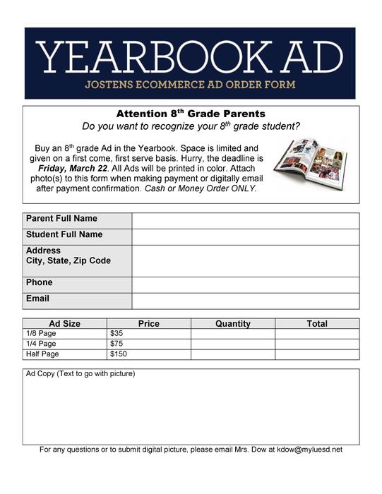 8th grade yearbook ad form