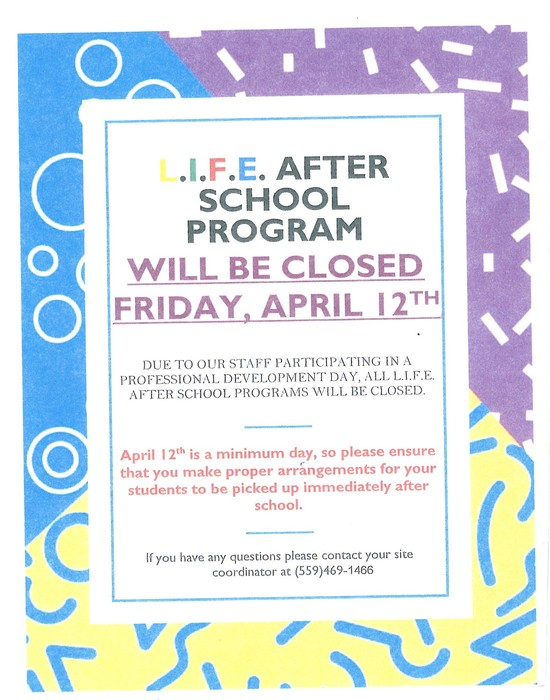 After school program will be closed on 4/12/19