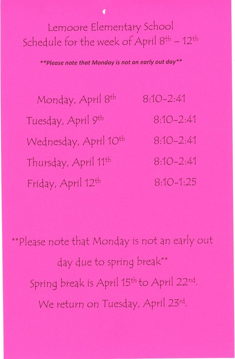 Schedule for the week of April 8th