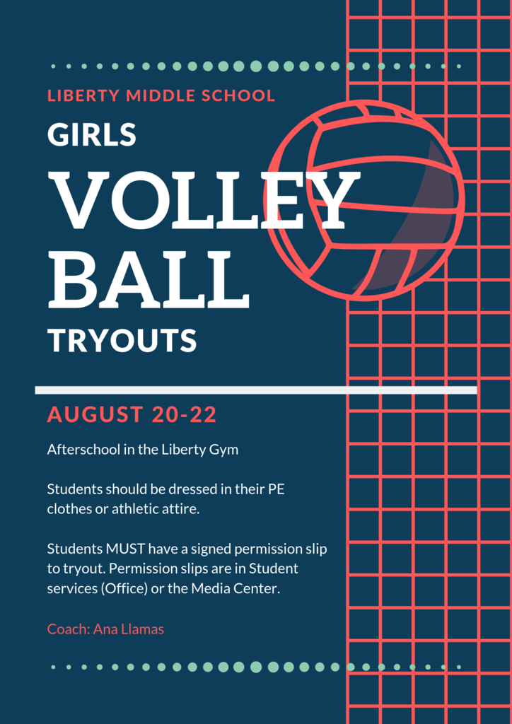Volleyball tryouts 8/20-22