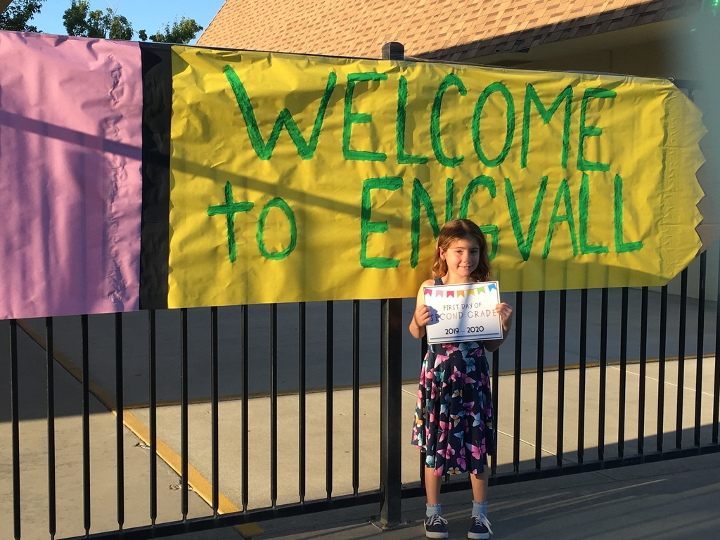 A student standing near the Welcome to Engvall sign