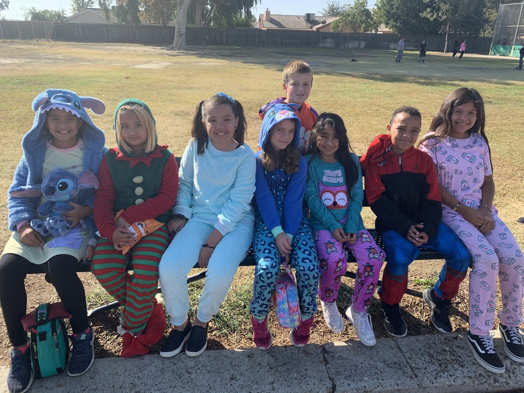 Students showing their pajamas.