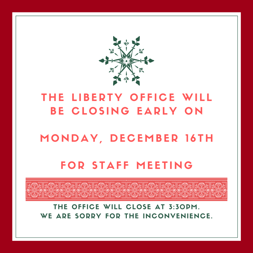 Office closed at 3:30 pm 12/16
