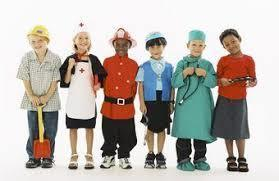 Children dressed up for Career Day.