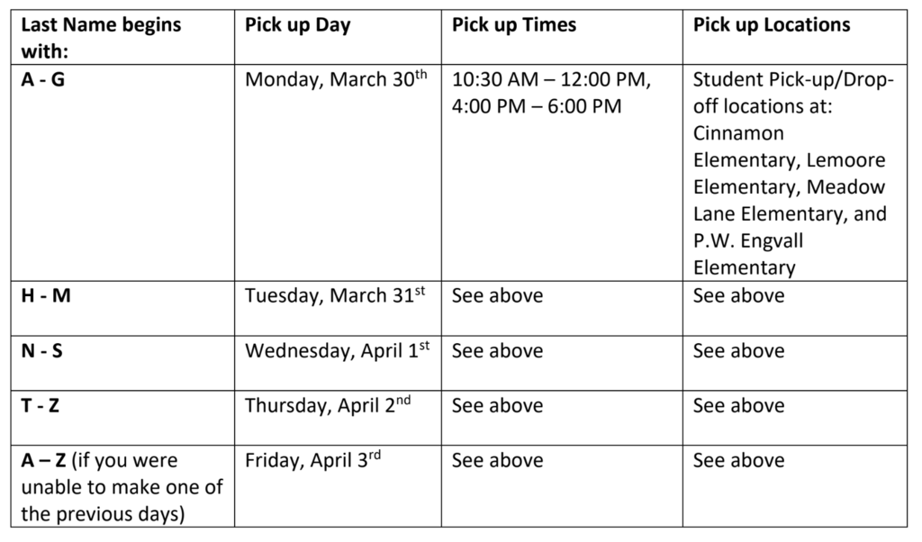 Chromebook distribution schedule