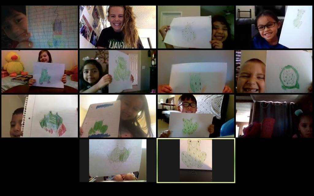Students showing their art on a zoom lesson.