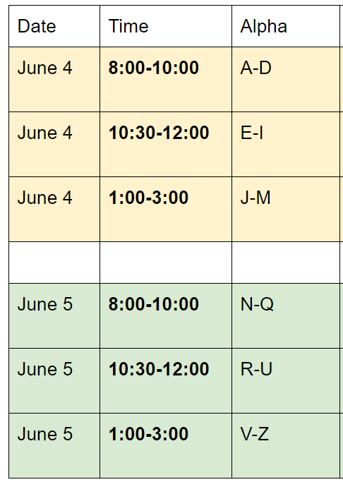 chromebook collection schedule