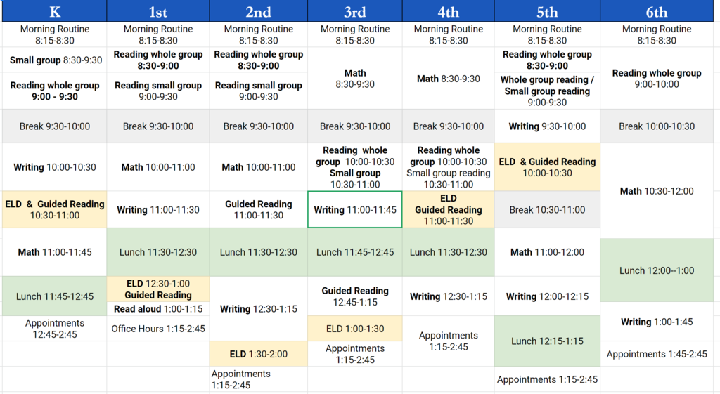 Master schedule for 20-21 Distance Learning