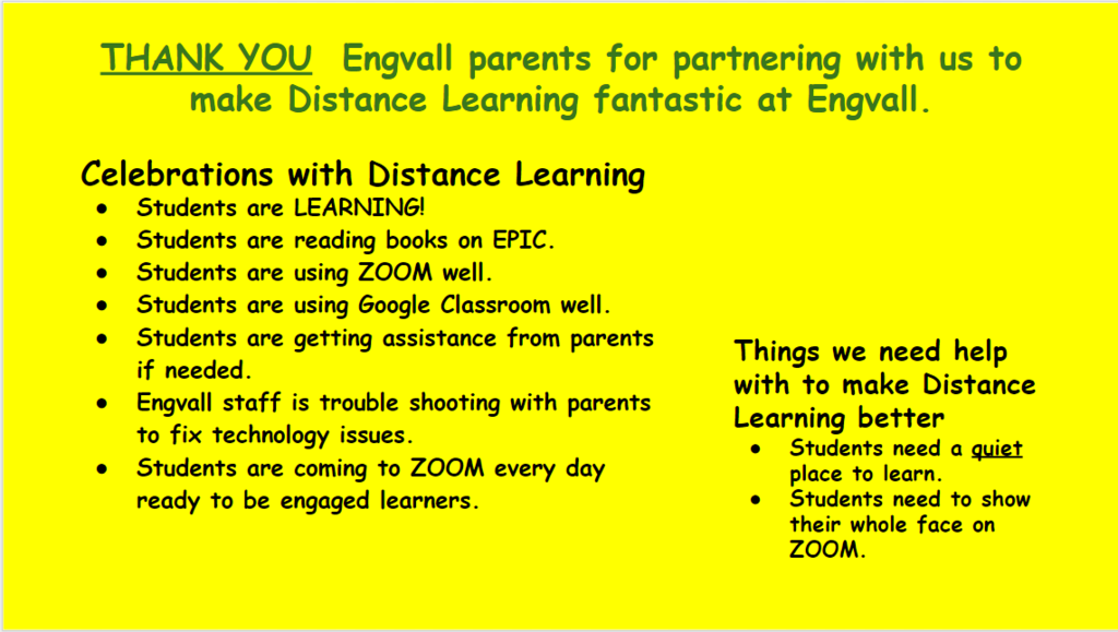 Google Slide of Distance Learning celebrations