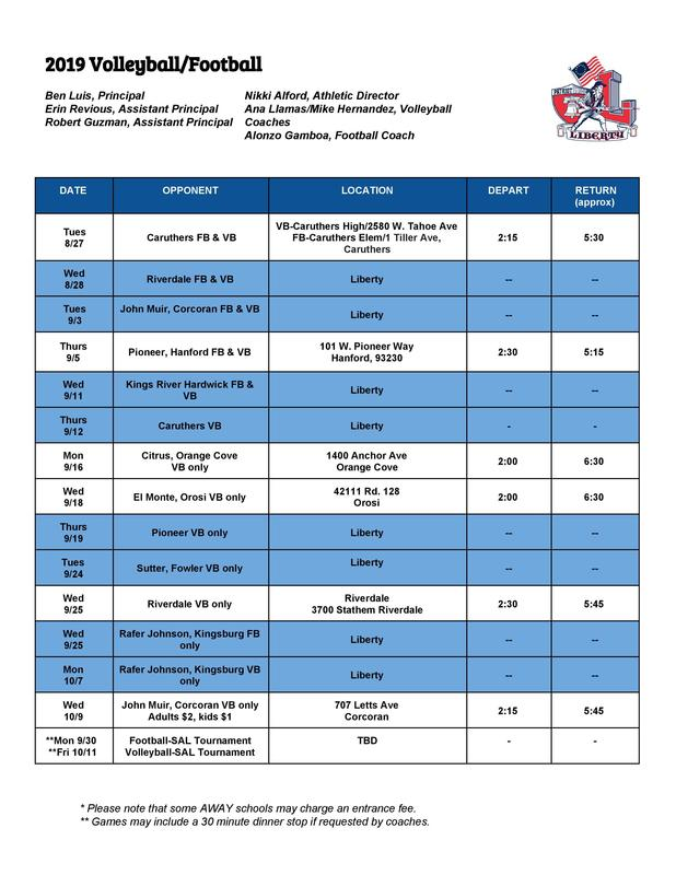 2019 Volleyball and Flag Football Schedule