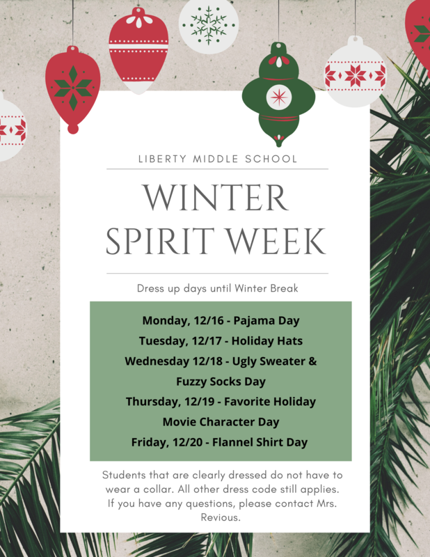 Winter Spirit Week 12/16-12/20